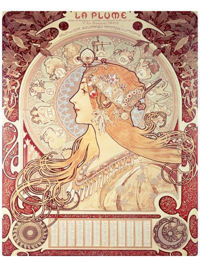 La Plume-Alphonse Mucha-Premium Giclee Print