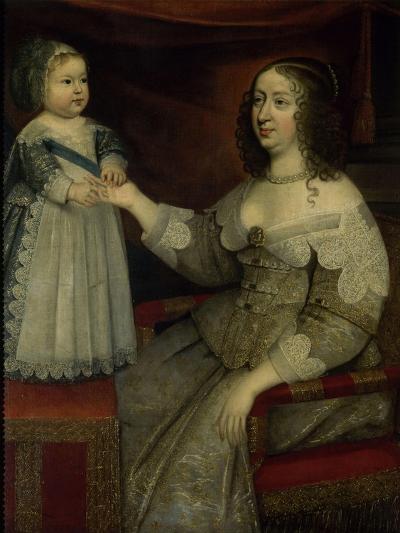 La reine Anne d'Autriche avec Louis XIV enfant alors Dauphin (avant 1643)--Giclee Print