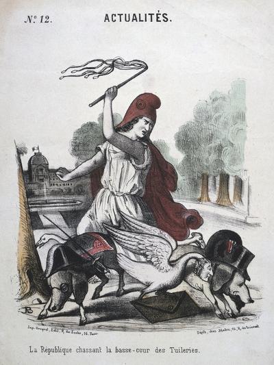 La Republique Chassant La Basse-Cour Des Tuilleries, Allegorical Cartoon, 1870-1871--Giclee Print