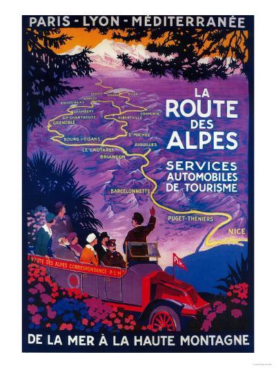 La Route Des Alpes Vintage Poster - Europe-Lantern Press-Art Print