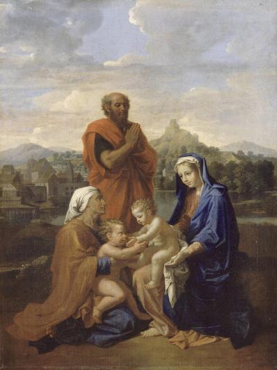 La Sainte Famille avec saint Jean, sainte Elisabeth et saint Joseph priant-Nicolas Poussin-Giclee Print