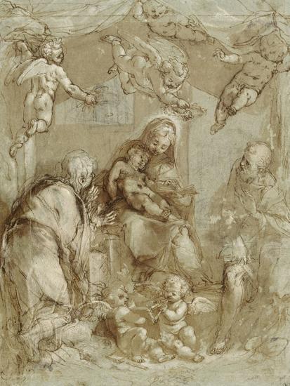 La Sainte Famille servie par les anges-Federico Barocci-Giclee Print