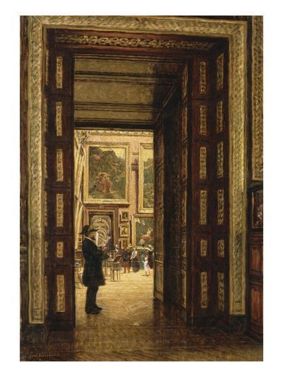 La Salle des Sept-Cheminées au Louvre, vue depuis la salle des Bijoux-Louis Beroud-Giclee Print