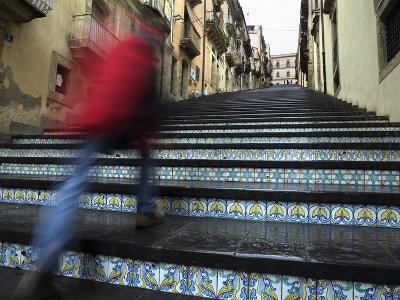 La Scala 142 Steps with Hand Painted Ceramic Tiles, Caltagirone, Sicily, Italy, Europe-Stuart Black-Photographic Print
