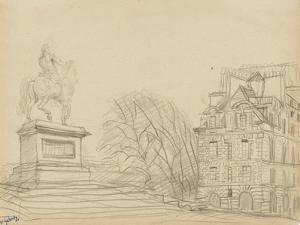 La statue équestre d'Henri IV (le cheval de bronze) et une des deux maisons de la place Dauphine