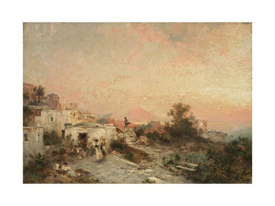 La Tarantella, Posilipo, Naples, C.1895-Franz Richard Unterberger-Giclee Print