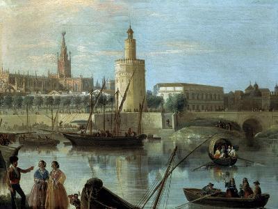 La Torre Del Oro Y La Catedral Desde Los Remedios-Manuel Barron y Carrillo-Giclee Print