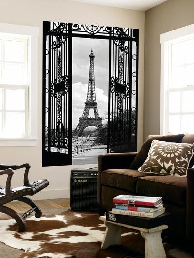 La Tour Eiffel Tower Paris Gates Mural--Wallpaper Mural
