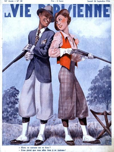 La Vie Parisienne, Couples Shooting Guns Hunting Magazine, France, 1936--Giclee Print