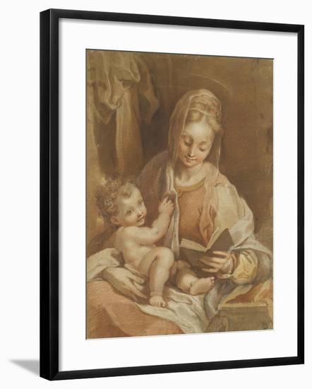 La Vierge assise tenant l'Enfant Jésus nu et un livre ouvert-Federico Barocci-Framed Giclee Print