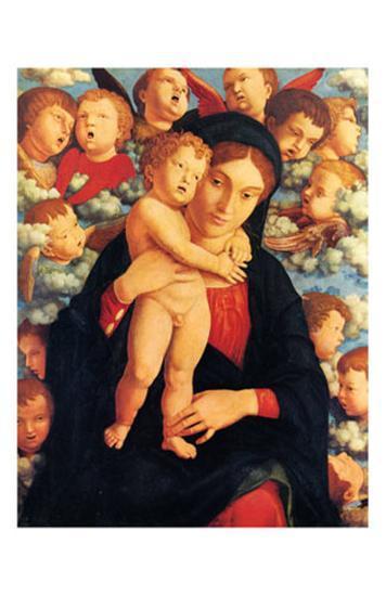 La Vierge et l'Enfant avec les Cherubins-Andrea Mantegna-Art Print