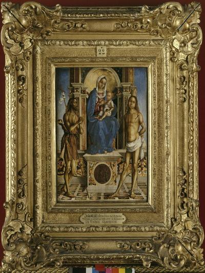 La Vierge et l'Enfant entre saint Jean-Baptiste et saint Sébastien-Francesco Zaganelli-Giclee Print