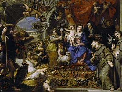 La Virgen Con El Niño Entre Las Virtudes Teologales Y Santos, 1669-Claudio Coello-Giclee Print