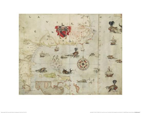 La Virgenia Pars: a Map of the East Coast of N. America-John White-Giclee Print