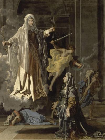 La vision de Sainte Françoise Romaine-Nicolas Poussin-Giclee Print
