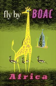 Africa - African Giraffe and Gazelles - Fly by BOAC by Laban