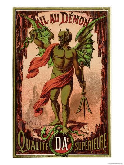 """Label for """"Fil Au Demon"""" Brand of Sewing Thread, circa 1880-90--Giclee Print"""