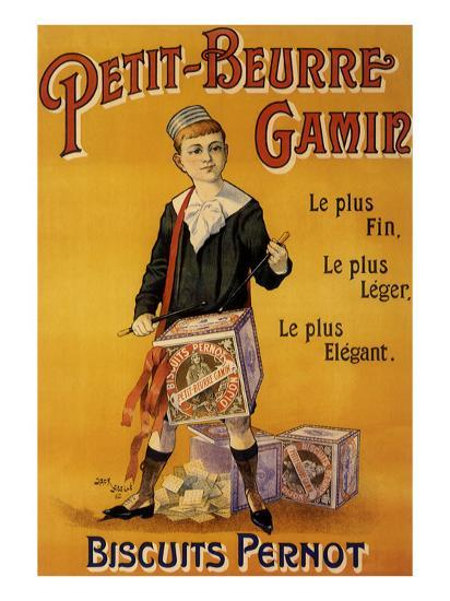 Label of Pernot Biscuits: Petit Beurre Gamin, c.1901-Jack Abeille-Giclee Print