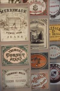 Labels for Cloth Woven at 19th-Century Textile Mills, Displayed in Lowell, Massachusetts