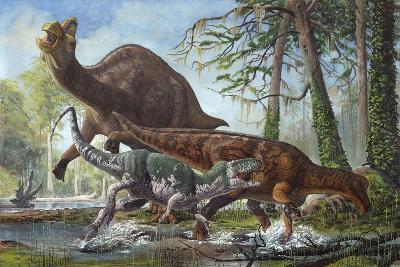 Labocania Attacking a Magnapaulia Dinosaur--Art Print