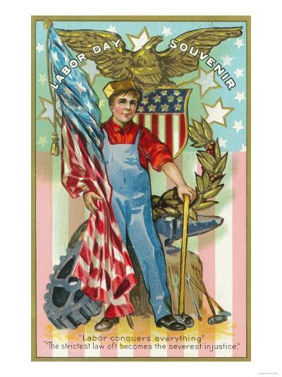 Labor Day Souvenir Labor Holding US Flag and Sledgehammer-Lantern Press-Art Print