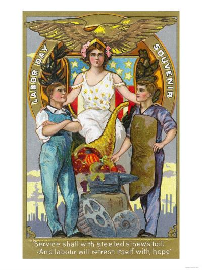 Labor Day Souvenir Laborers with Lady Justice-Lantern Press-Art Print