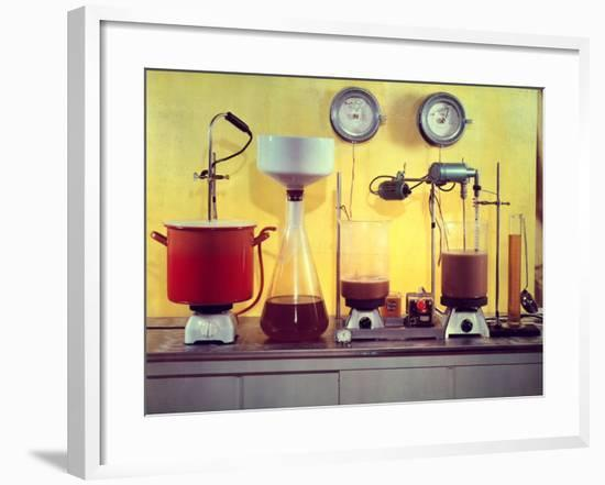 Laboratory Instruments for Analyzing the Chemical Properties of the Beer Prinz Brau-A. Villani-Framed Photographic Print