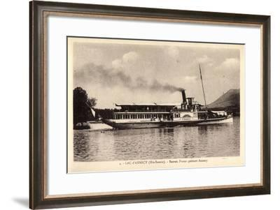 Lac D'Annecy Haute Savoie, Bateau France Quittant--Framed Giclee Print