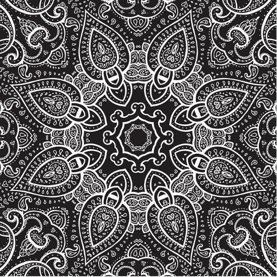 Lace Background: White on Black, Mandala-Katyau-Art Print