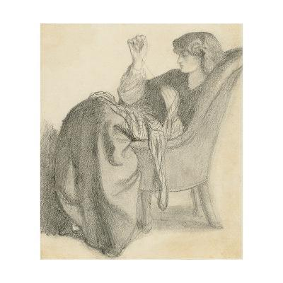 Lachesis: Study of Jane Morris Seated in a Chair Sewing, 1860s-Dante Gabriel Charles Rossetti-Giclee Print
