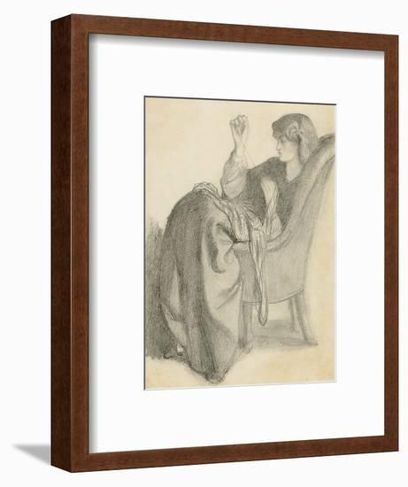 Lachesis: Study of Jane Morris Seated in a Chair Sewing, 1860s-Dante Gabriel Charles Rossetti-Framed Giclee Print