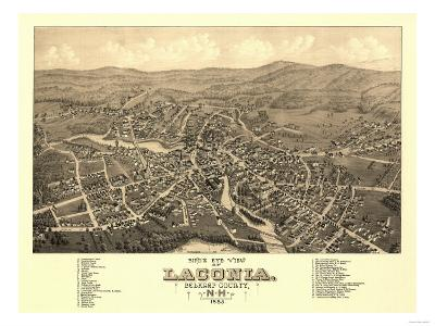 Laconia, New Hampshire - Panoramic Map-Lantern Press-Art Print