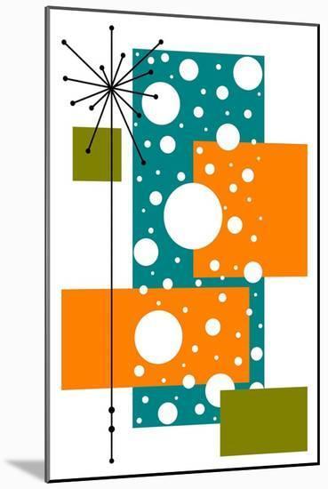 Lacuna - Aqua and Orange-Tonya Newton-Mounted Art Print