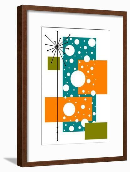 Lacuna - Aqua and Orange-Tonya Newton-Framed Art Print