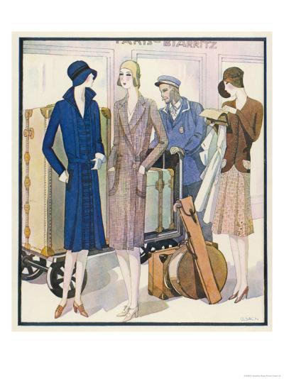 Ladies and Their Luggage Wait on the Platform for a Porter-G. Sacy-Giclee Print