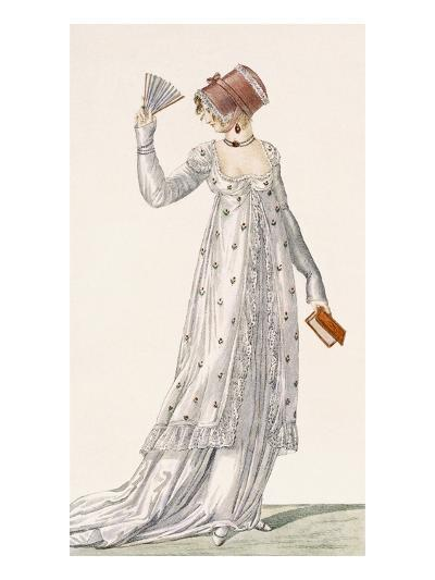 Ladies Evening Dress, Fashion Plate from Ackermann's Repository of Arts, Pub. 1814-English-Giclee Print