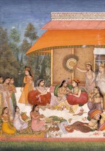 Ladies Feasting and Drinking Wine, India