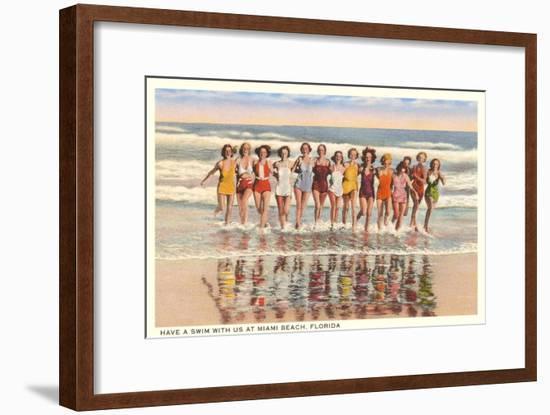 Ladies in Surf, Miami Beach, Florida--Framed Art Print