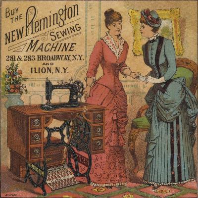 Ladies Looking at Sewing Machine--Giclee Print