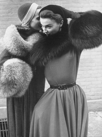 Ladies Modeling Tie on Collars and Matching Barrel Muffs Made of Natural Fox Skin-Gordon Parks-Photographic Print