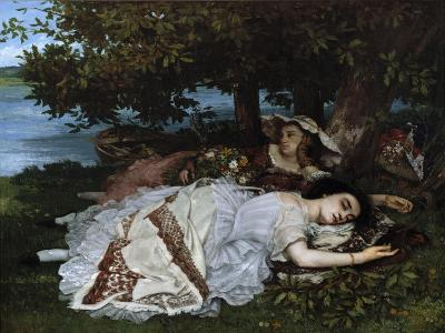 Ladies on a River Bank-Gustave Courbet-Giclee Print