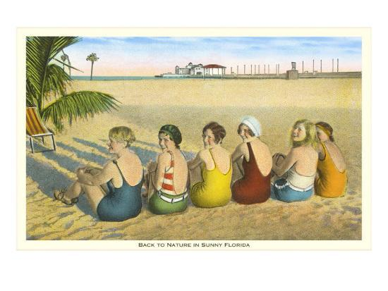 Ladies on Beach, Florida--Art Print
