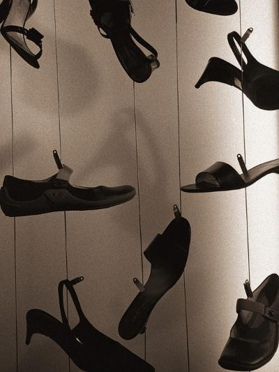 Ladies Shoes Hanging on Wire-Henry Horenstein-Photographic Print