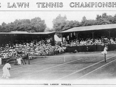 Ladies' Singles Match on Centre Court at Wimbledon--Photographic Print