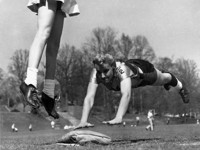 Ladies Softball Player Diving for Third Base, Atlanta, Georgia, 1955--Photo