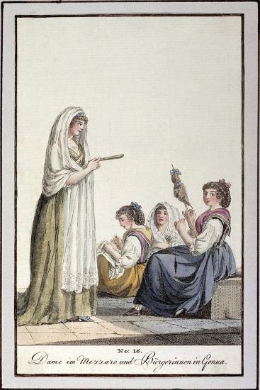 Ladies Wearing Mezzaro Shawl and Genoese Women, Ca 1815--Giclee Print