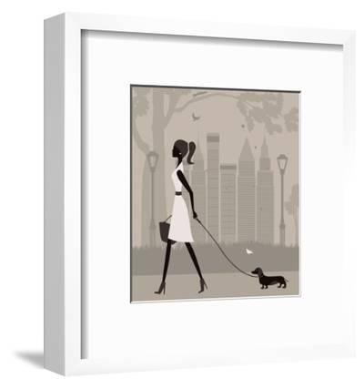 Woman Walking with a Dog. Vector by Ladoga
