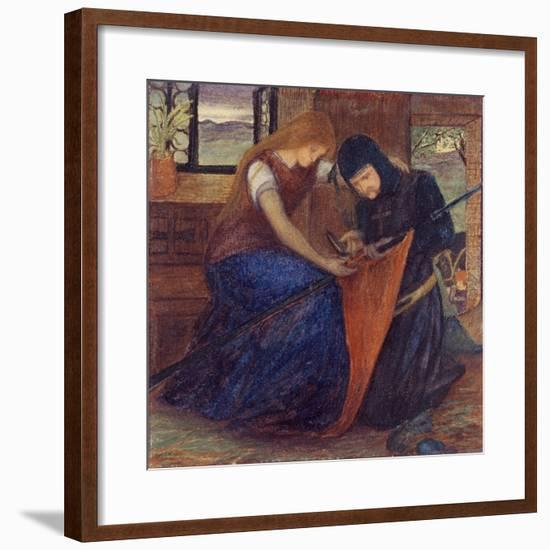 Lady Affixing Pennant to a Knight's Spear-Elizabeth Eleanor Siddal-Framed Giclee Print