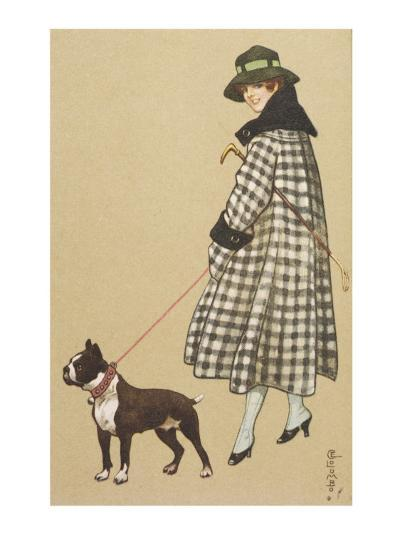 Lady and Boston Terrier--Giclee Print