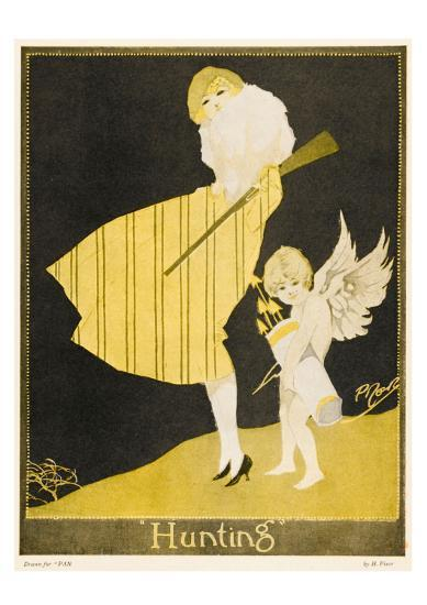 Lady and Cupid Hunting--Art Print
